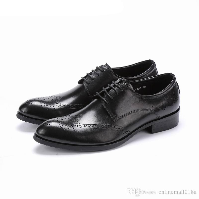 Nuevo diseño superior real completo de cuero de grano para hombre de negocios formal zapato hombres vestido brogue Wing-Tips zapatos