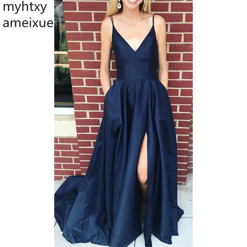 2019 дешевое элегантное вечернее платье простой V-образным вырезом атласное длинное платье выпускного вечера на заказ Сексуальная боковая щель темно-синие вечерние платья плюс размер