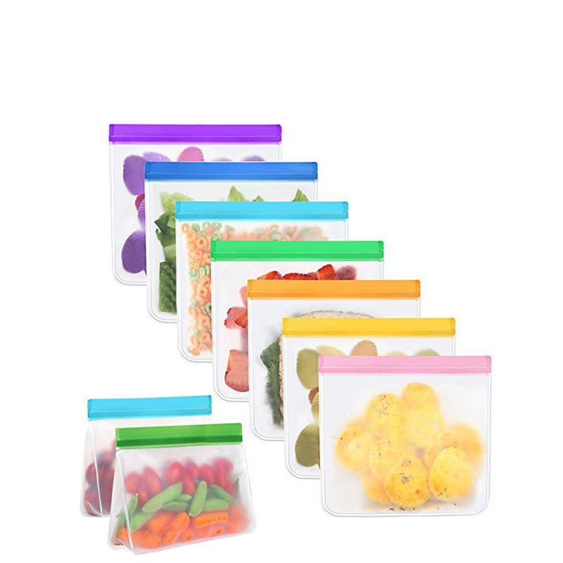 Reutilizável Food Storage Bags Stand-Up PEVA Ziplock Freezer seguro Leakproof laváveis Sacos para almoço lanche de frutas legumes Travel Home Orangize