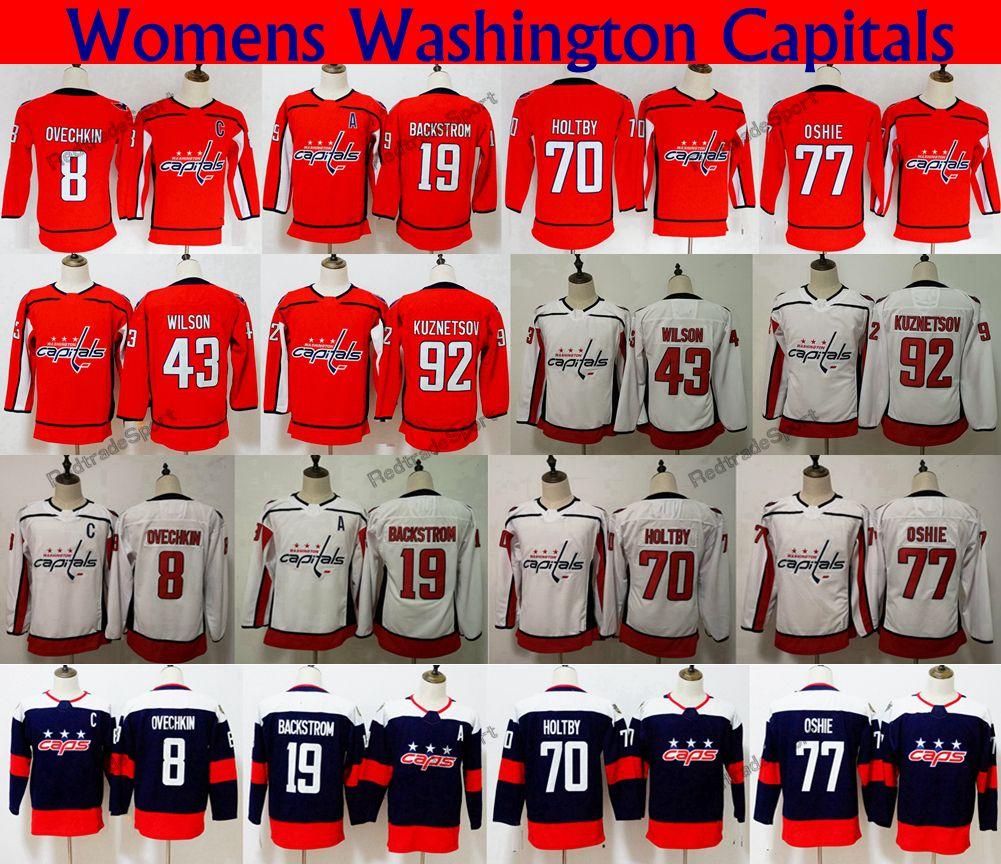 Damen-Stadionserie 2018 Washington Capitals 77 TJ Oshie 8 Alex Ovechkin 70 Holtby 92 Kuznetsov 19 Backstrom 43 Tom Wilson Hockey-Trikots