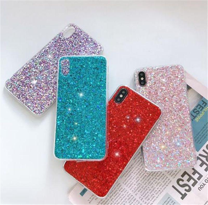 Glitter antichocs Téléphone cas pour l'iPhone 11 Pro Max 11 XS XR 6 7 8 plus TPU protection bling cas de téléphone