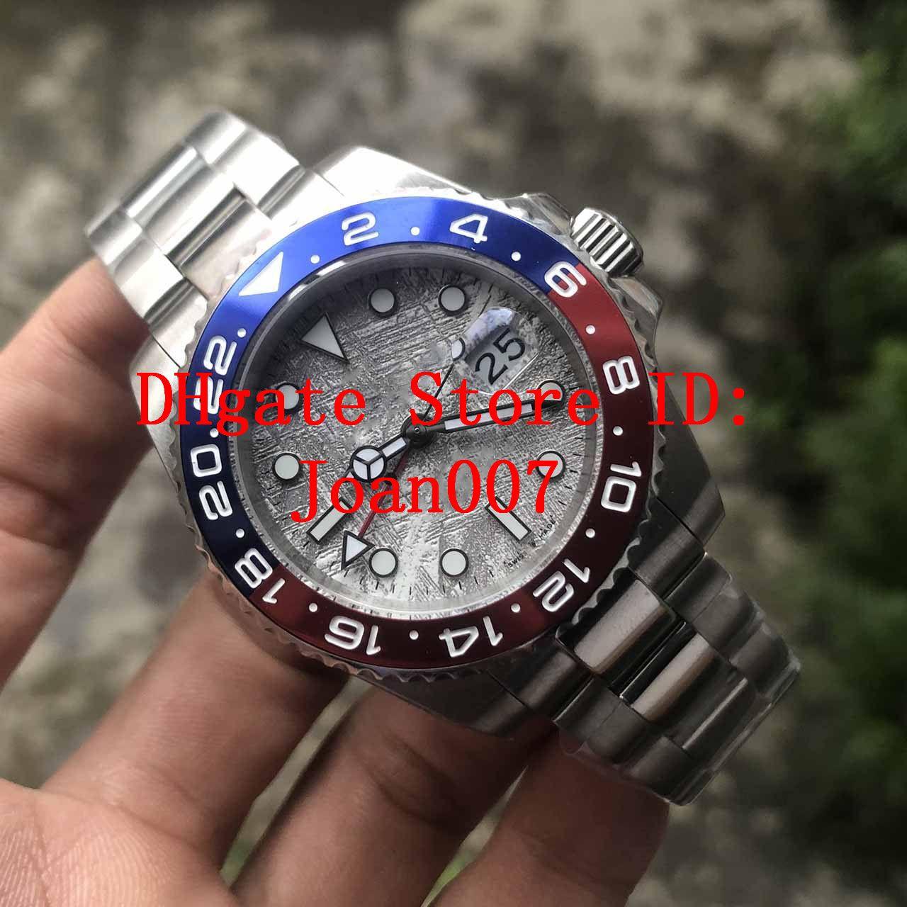 Alta calidad de la roca de ceniza Dial GMT 2813 Mecanismo de relojería azul / rojo de cerámica de 40 mm Bisel Cristal de zafiro 126719 hombre GMT Relojes de pulsera