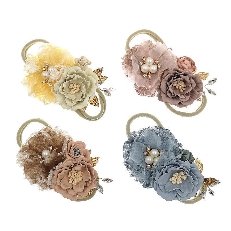 20pc / lot Prinzessin Vintage Blumen mit Nylonstirnband Perlen-Spitze-Blumen-Nylon-Stirnband-Haar-Band für Kopfbedeckungen Kinder des Mädchens