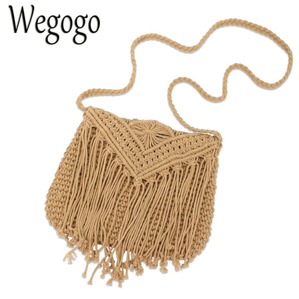 Summer Beach Women Girls Crochet Braid Bags Shoulder Vintage Messenger Crossbody