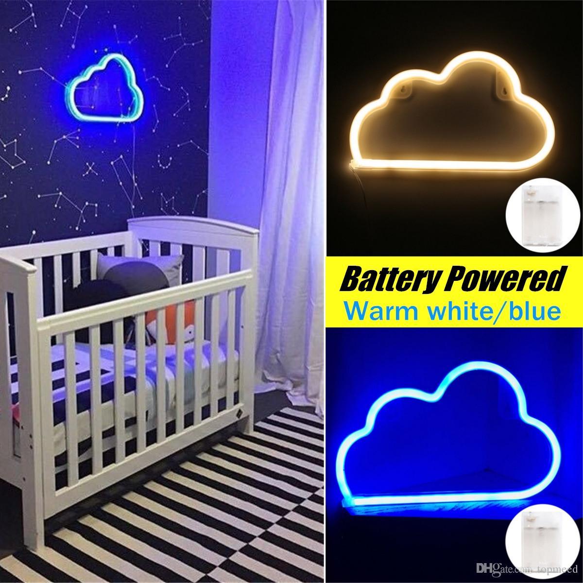 플라스틱 LED 네온 사인 나이트 라이트 클라우드 디자인 벽 램프 침실 바 장식품 크리스마스 파티 장식 휴일 조명 선물