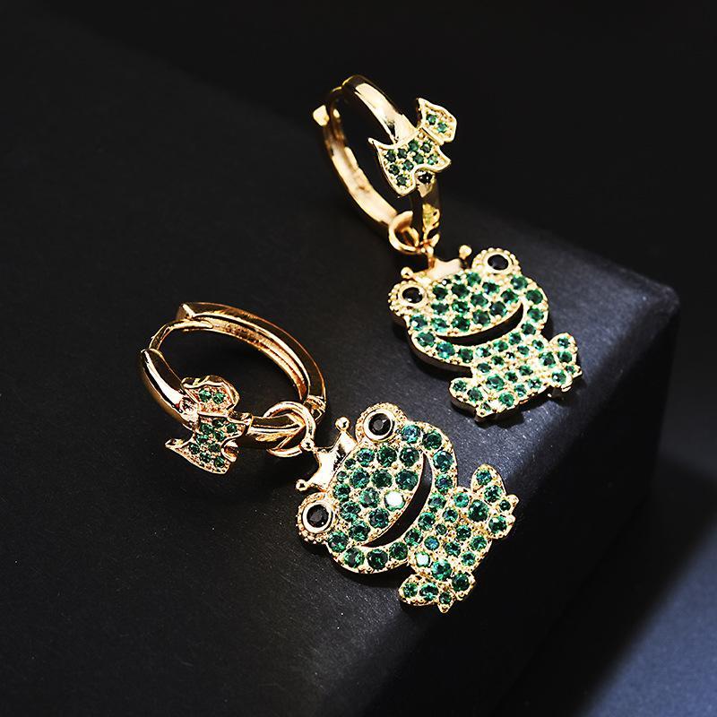 Fashion-Green Diamond Frog Earrings 18K Gold Plated Wedding Jewelry Women Fashion Earings Rings Brand Designer Jewellery