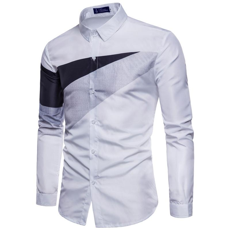Dress Shirts 2018 Neue Modemarke Männer Kleidung Slim Fit Männer Langarm-shirt Männer kariertes hemd Hemd Plus Größe S-XXL