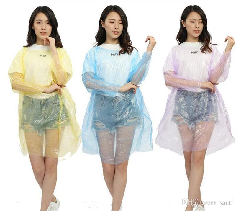 Moda Sıcak Tek Kullanımlık PE Yağmurluklar Panço Rainwear Seyahat Yağmurluk Yağmur Hediyeler karışık renkler Giymek