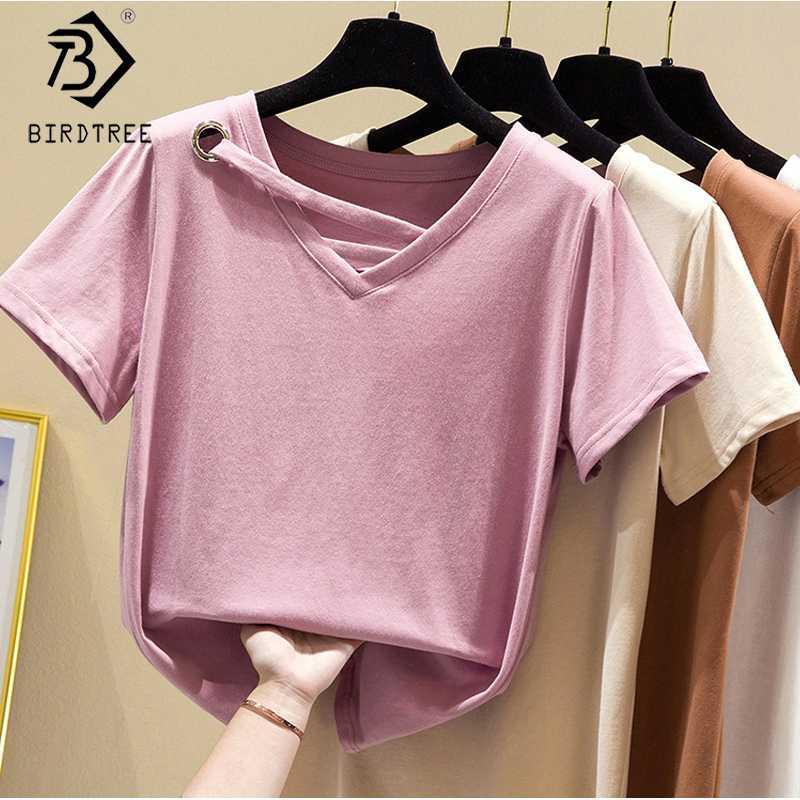 4 cores T-shirt New Cotton For Women 2020 Verão Sólidos manga curta V-Neck Elastic oco Out Casual Tops Todos Jogo T02603K