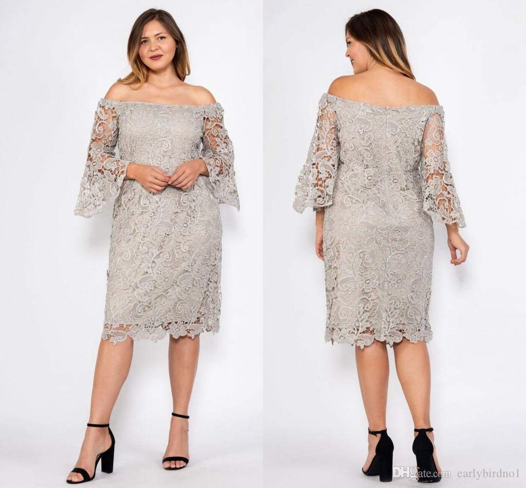 Gray Plus Size Full Lace Mother Of The Bride Dresses Off Shoulder Long  Sleeves Knee Length Two Pieces Mother Formal Party Evening Prom Gown Mother  Of ...