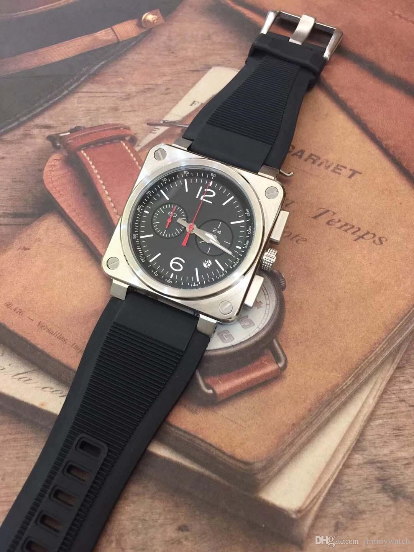 Best-seller Dial Preto 46 Outdoor Instrumento BR Heritage Mens Praça relógios Quartz Chronograph Black Watch pulseira de borracha de pulso