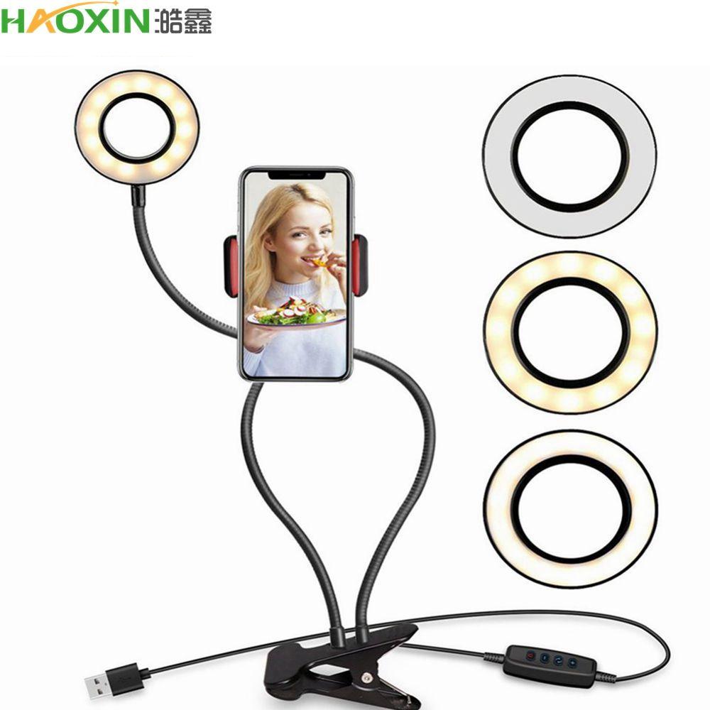 Haoxin Fotoğraf Stüdyosu Selfie LED Halka Işık Ile Cep Telefonu Mobil Tutucu Youtube Canlı Stream Makyaj Kamera Lambası Için iPhone Android