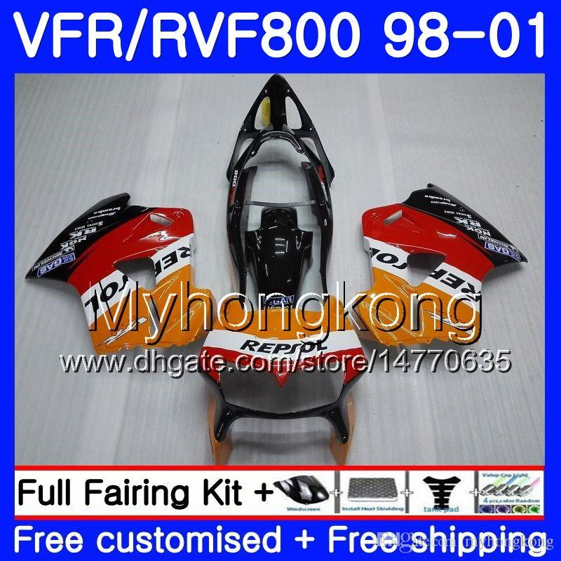 Тело для Honda Interceptor VFR800R VFR800RR 98 99 0000RR VFR8.0 VFR800 VFR 800RR VFR 800 RR 1998 1999 2000 2001 обтекатель Kit Repsol Orange