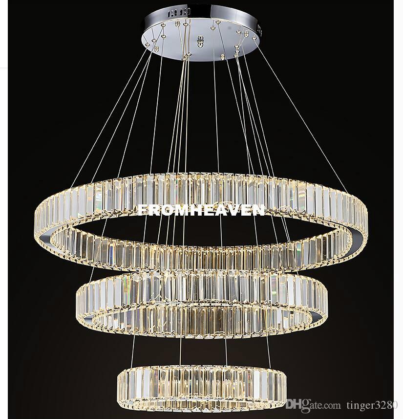 Suspendu Gratuite Acheter Livraison Moderne Lampe Luminaire Cercles Cristal Éclairage 100Garanti Acier En Pendentif Inoxydable KculJ3T1F