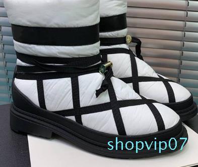 tête ronde Designer-st bottines de plumes avec des talons bas et semelle épaisse garder des bottes de neige chaude, Taille 35-40