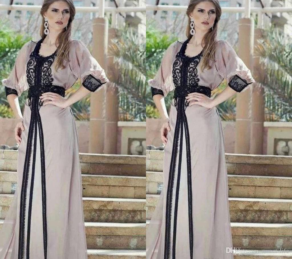 Vintage schwarze Spitzenkleider Kaftan Arabisch Jalabiya Marokkaner Dubai Muslim 2019 Abaya In Dubai Lange Prom Maxi Abendkleid Robe Ehe