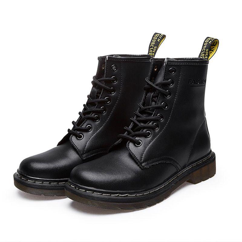 Chaussures hiver d'homme Bottes de randonnée Chaussures en cuir véritable homme ronde Bottes Toe pour les hommes Bottines Hombre