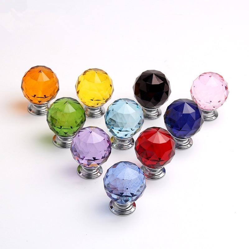30mm 다이아몬드 모양 디자인 크리스탈 유리 손잡이 찬장 했었어요 서랍 손잡이 주방 캐비닛 홈 인테리어 가구 핸들 하드웨어를 처리