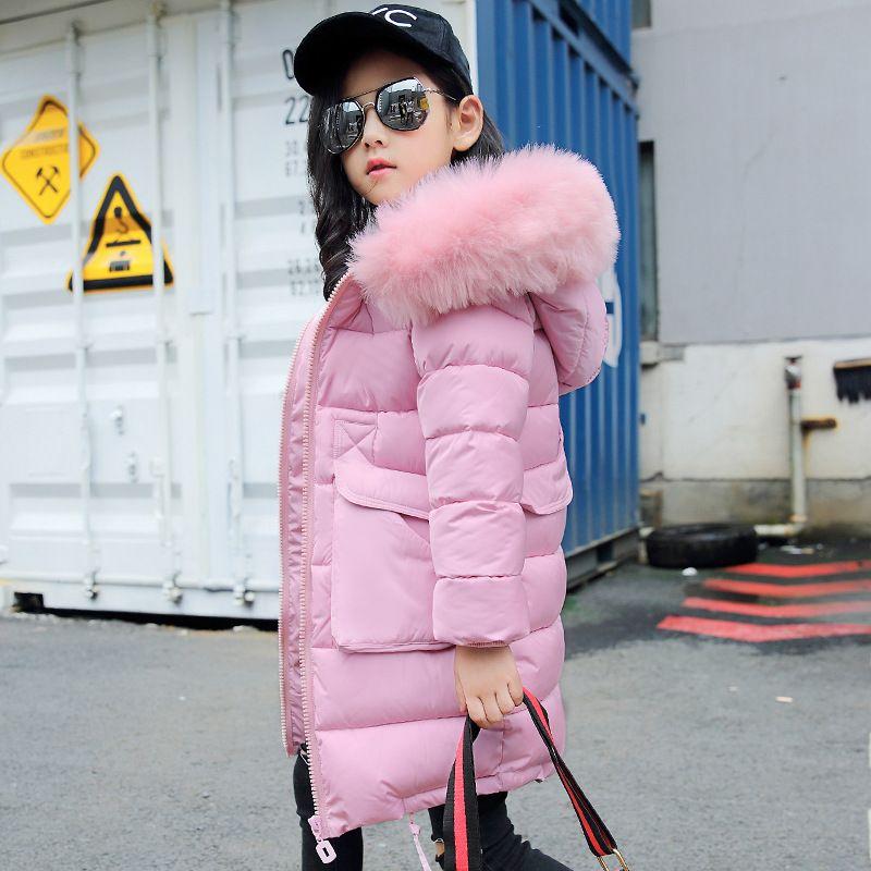 Moda Çocuk Kış Ceket Kız Kış Ceket Çocuklar Sıcak Kalın Kürk Yaka Kapşonlu uzun aşağı Palto Genç 4Y-14Y Için