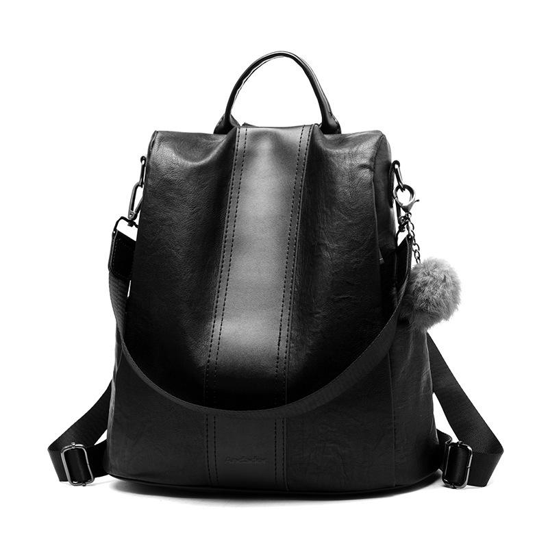 New Fashion Casual Pu Women Anti-theft Backpack 2019 Hight Quality Vintage Backpacks Women's Larger Capacity Female Shoulder Bag Y190627