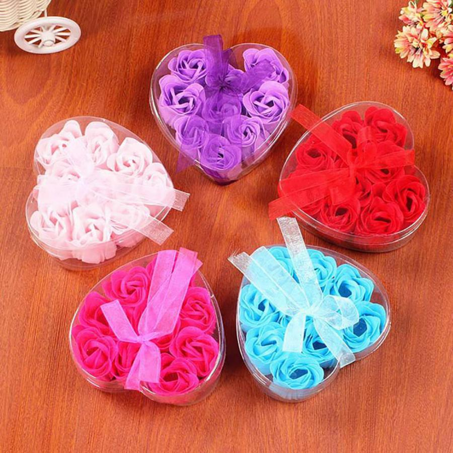 Forma 9Pcs perfumada rosa pétalo de la flor Ramo de San Valentín Día del Corazón Regalo del regalo del partido de boda Jabón Caja cuerpo del baño 9ocs del favor / porción RRA2670