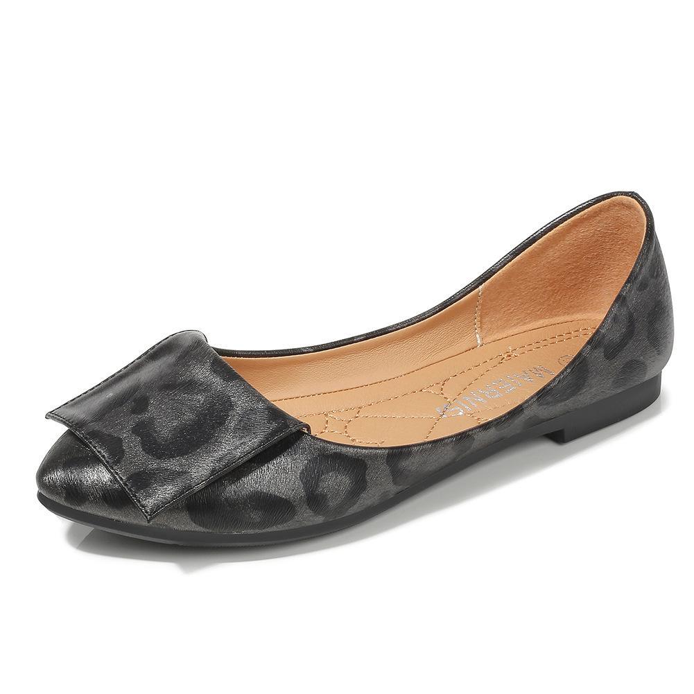 2020 Kadınlar Flats Casual Loafers Lady Shoes Sivri Burun Büro Sığ Tek Ayakkabı Plus Size 46 Print Balerin Leopard Slip On