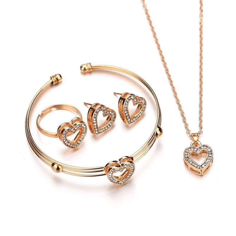 4 pcs forma de corazón lindo pendientes Collar de pulsera joyería fija sistemas de la joyería de cristal cabrito encantador de los niños de color oro para la muchacha