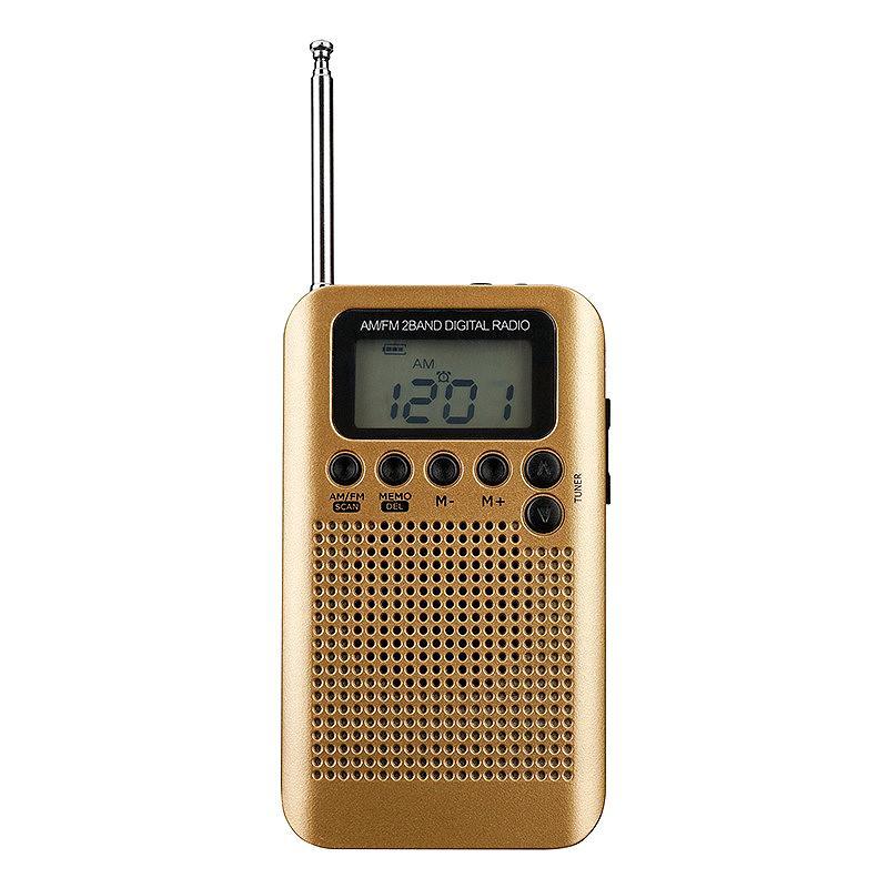 Mini-Lcd-Digital-FM / AM-Radiosprecher mit Wecker- und Zeitanzeigefunktion 3,5-mm-Kopfhörerbuchse und Ladekabel