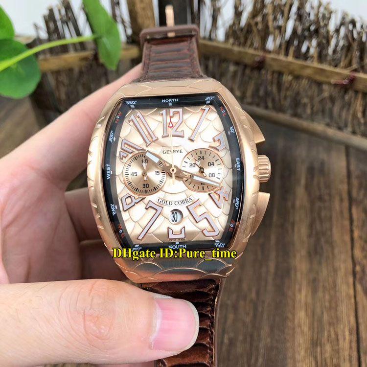 Nuevo Saratoge V 45 CC DT GOLD PXL Escala de serpiente dorada Esfera Miyota Cronógrafo de cuarzo Reloj para hombre Caja de grietas de oro rosa Relojes con correa de cuero