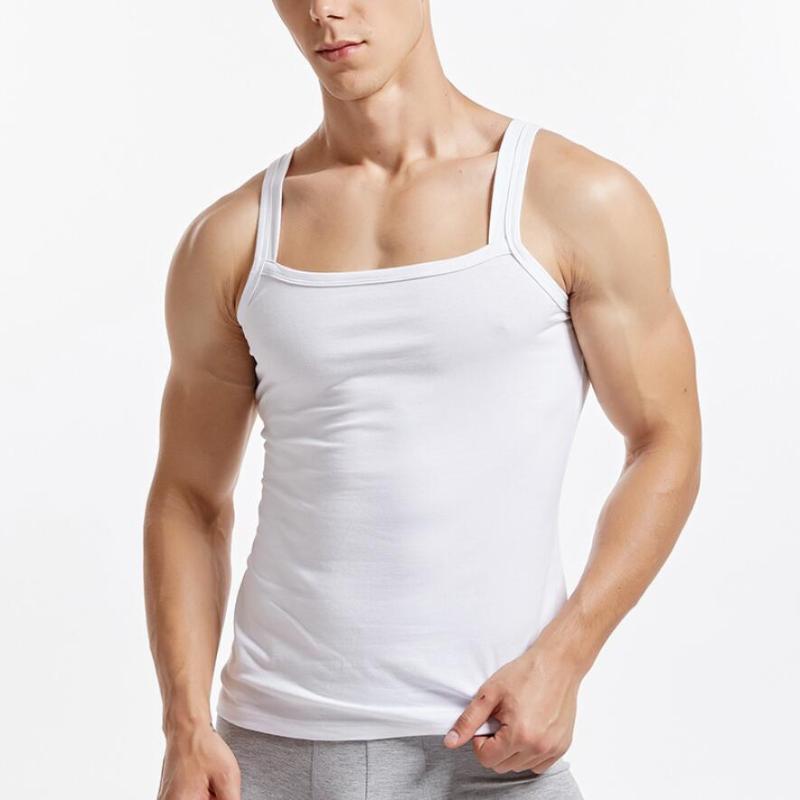 Hommes d'été Gilet Accueil Vêtements Tanks solides Coton Veste à encolure carrée Gym sport manches chemise invisible Sous-vêtements Undershirt