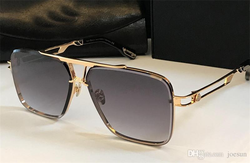최고의 남자는 케이스 디자인 선글라스 플레이어 평방 K 골드 프레임 크리스탈 컷 렌즈 하이 엔드 최고 품질 야외 안경 안경