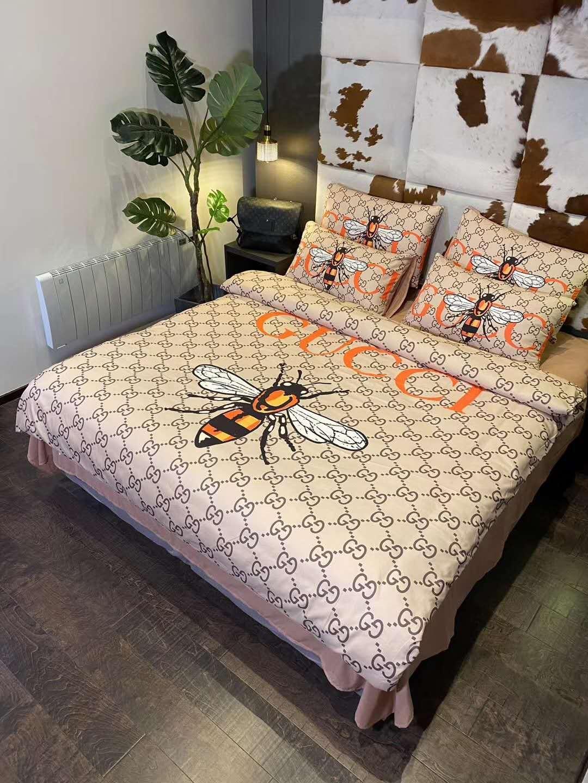 Marca Quente Folha de lençóis de algodão Set Moda 4 Pcs capa de edredão 2 fronhas Home Textiles colorido tamanho Consolador Roupa de cama rainha