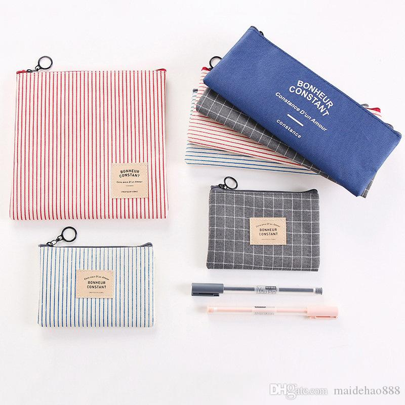 Classic Cute Pencil Case Korean Stationery Stripe Grid Fabric Pouch Pencil Holder Pen Bag Canvas Cosmetic Bag Coin Purse Free Ship Customize