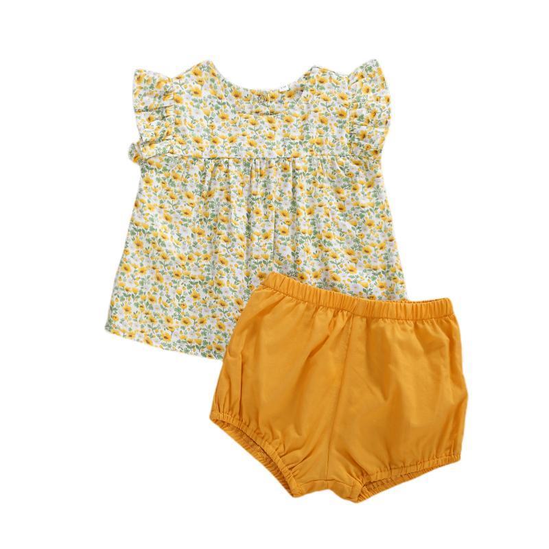 Giyim Setleri 0-24 M Doğan Bebek Çocuk Bebek Kız Giysileri Yaz Fırfır Çiçek Baskı O-Boyun Kol Üst Elbise Gömlek Şort Pantolon 2 adet Set