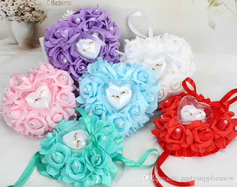 15*13*6cm Wedding Decorations Heart-shape Rose Flowers Valentine's Day Gift Ring Bearer Pillow Cushion Pincushion Ring Party Decoratio