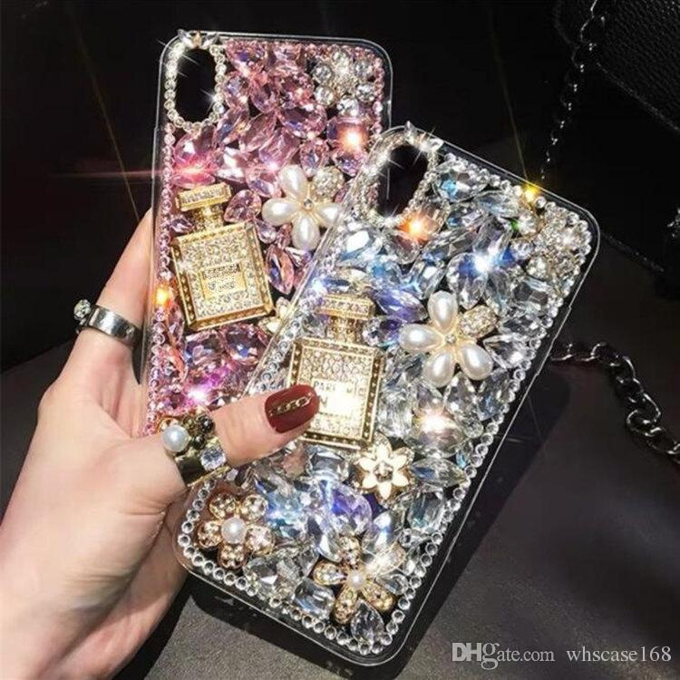 Luxury Rhinestone Diamond Phone case DIY perfume bottle and flower Cover cases for iphoneXS XR MAX Samsung S10 Plus S8 S9PLUS NOTE8 note9
