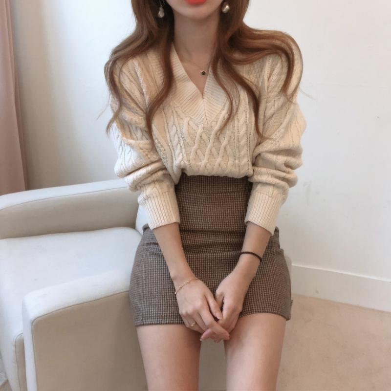 New Winter Sweater Women Pullover Girls Tops Vintage stripe Autumn Elegant Female Knitted Outerwear Warm Sweater Oversize