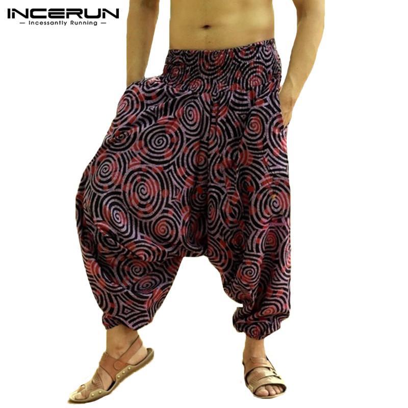 wholesale Fashion Print Men Wide Leg Harem Pants Drop Crotch Hip-hop Joggers Trousers Men Baggy Streetwear Nepal Style Cross-pants