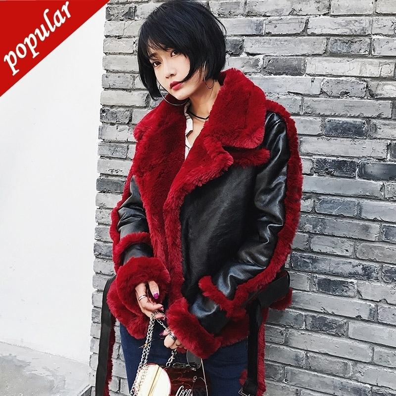 High Quality Winter Women Motorcycle Faux Lambs Wool Coat Female Short Shearling Coats Patchwork Faux Leather Jackets