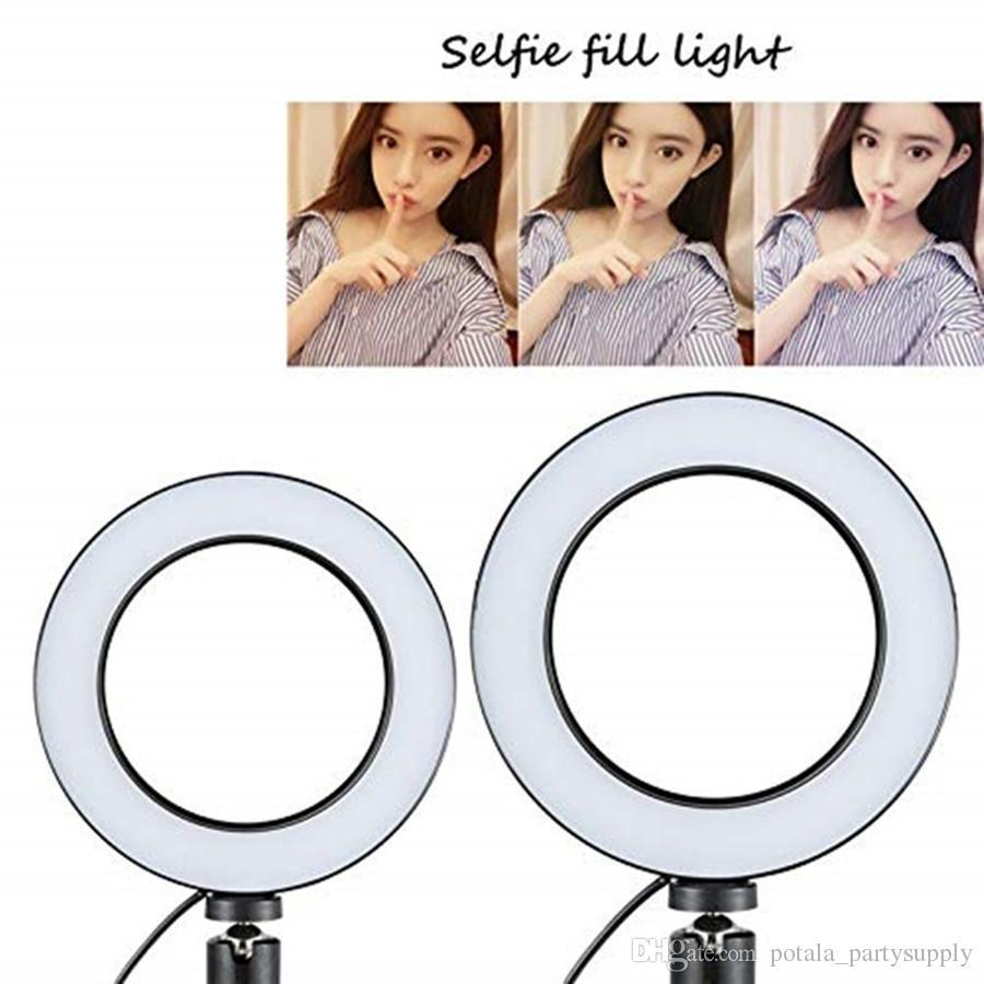Dimmable LED Studio Camera Ring 14.5CM Light Photo Phone Video Light Lamp Selfie Stick Ring Table Fill Light Mobile Holder Youtube Live Ins
