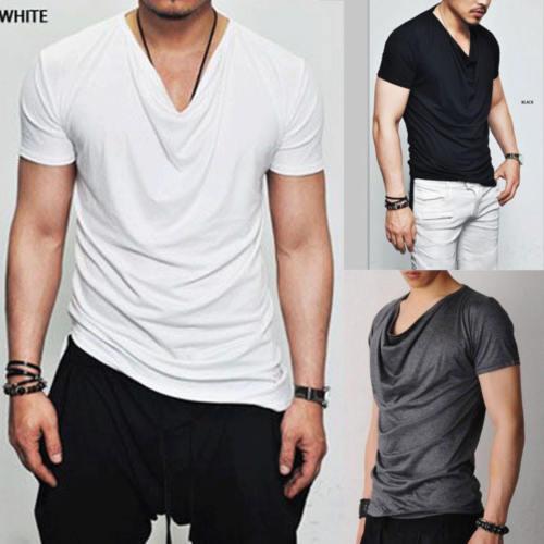2018 Лето новая мода мужчины куча шеи футболки чистый цвет мужская футболка с коротким рукавом Slim Fit повседневная базовая футболка M-2XL
