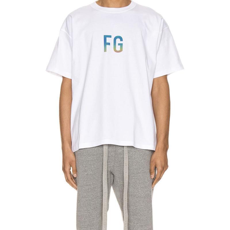 2020 Hip Hop Union Los x Angst vor Gott FOG FG 3M Reflective-T-Shirt Skateboard-T-Shirt Männer und Frauen Baumwolle Kurzarm T-Shirt USA Größe Kühle
