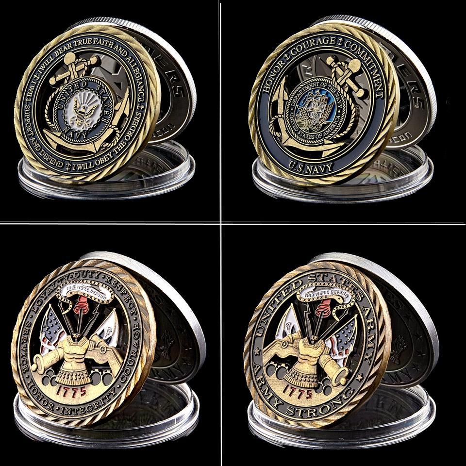 Cobre chapeado oco Patriotismo 1775 Valores dos EUA do núcleo da marinha Memorial Militar da coragem Compromisso coleção de moeda