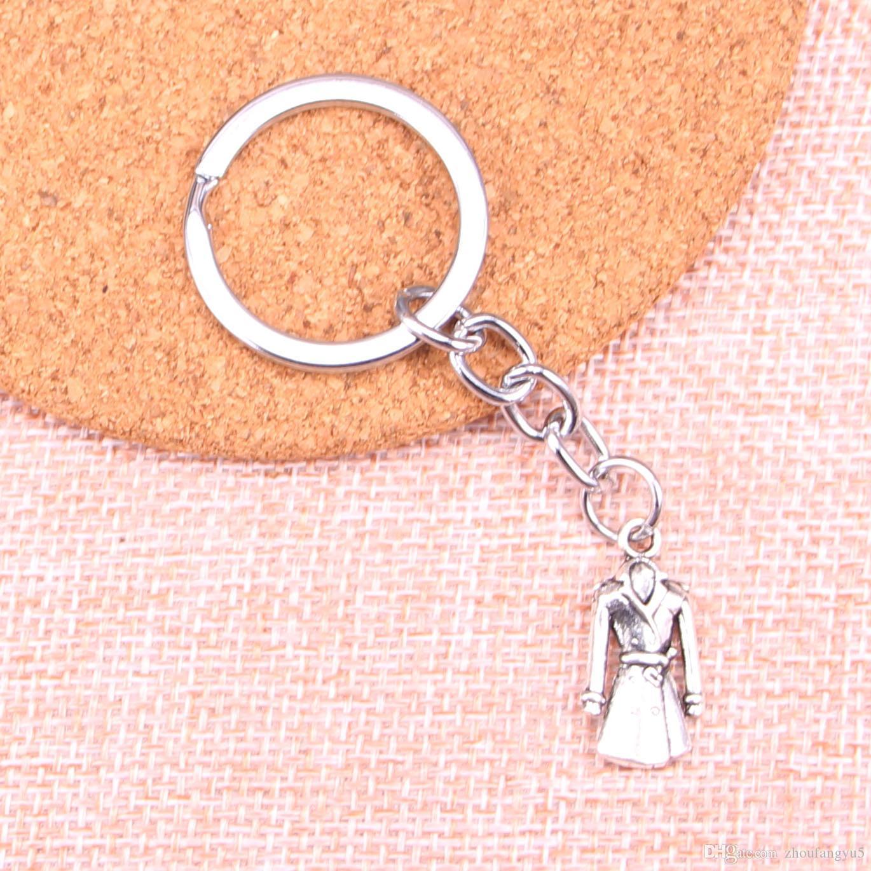 Nouveau porte-clés 23 * 11mm manteau manteau trench Pendentifs bricolage hommes voiture Porte-clés Porte-anneau porte-clés souvenir Bijoux cadeau
