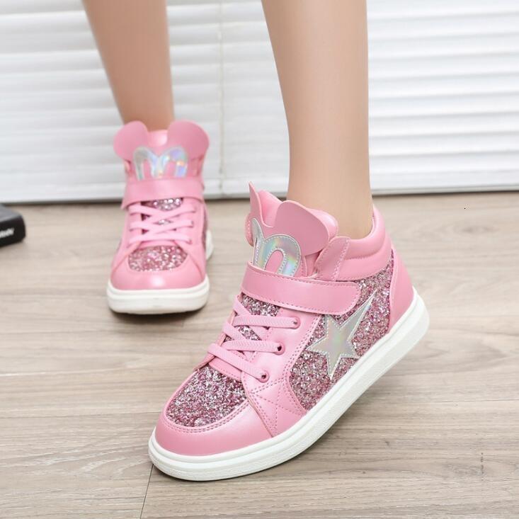 Meninas novas outono PU sapatos de couro tornozelo botas quentes Sapatos curtas infantis Sequins dos desenhos animados crianças planas Sapatos Moda Pink Gold T191015