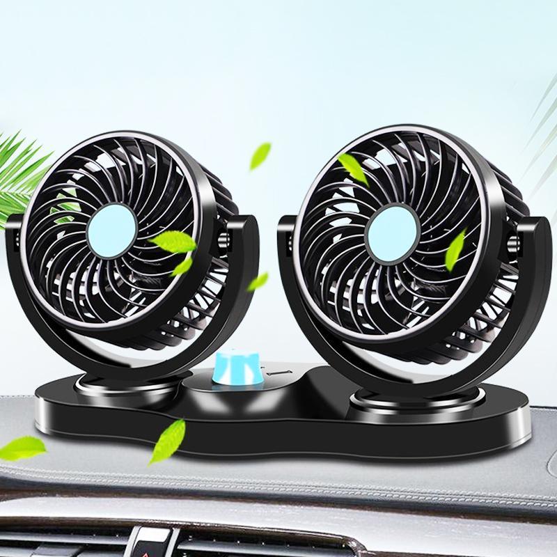 Otomobiller Motosiklet 12V / 24V Mini Elektrik Fan Düşük Gürültü Oto Klima 360 Derece Döner Cooler Fan Soğutma
