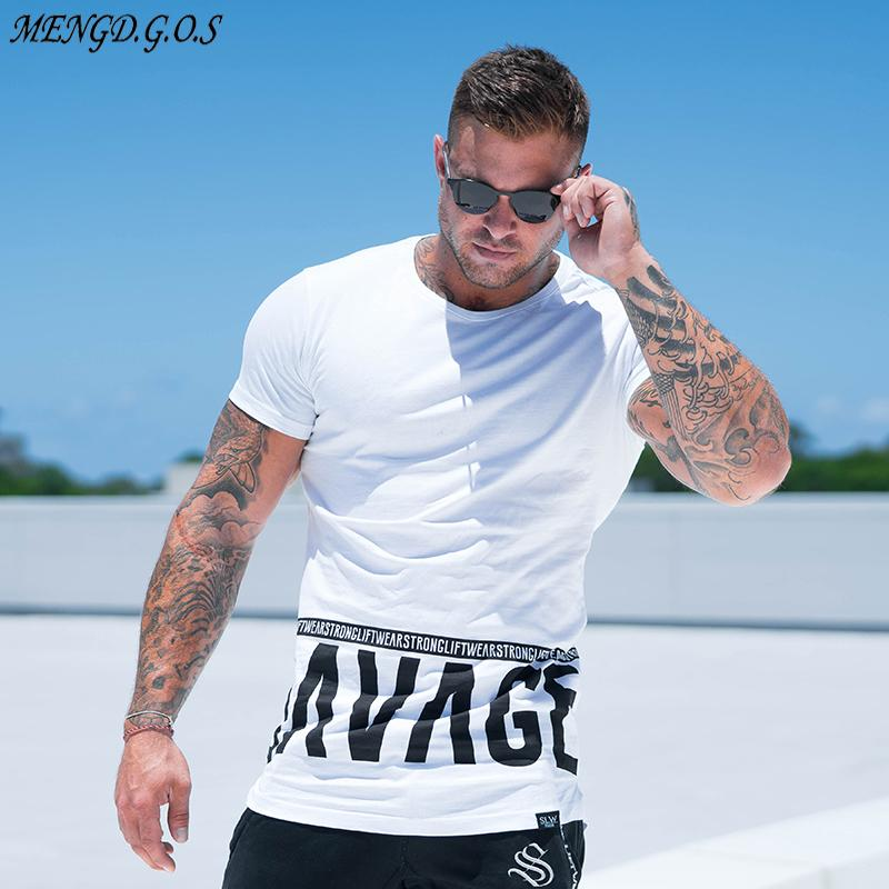 men Summer style Fashion personality t Shirt Muscle male Leisure gyms Short sleeves Slim fit Tee tops clothing MX200508