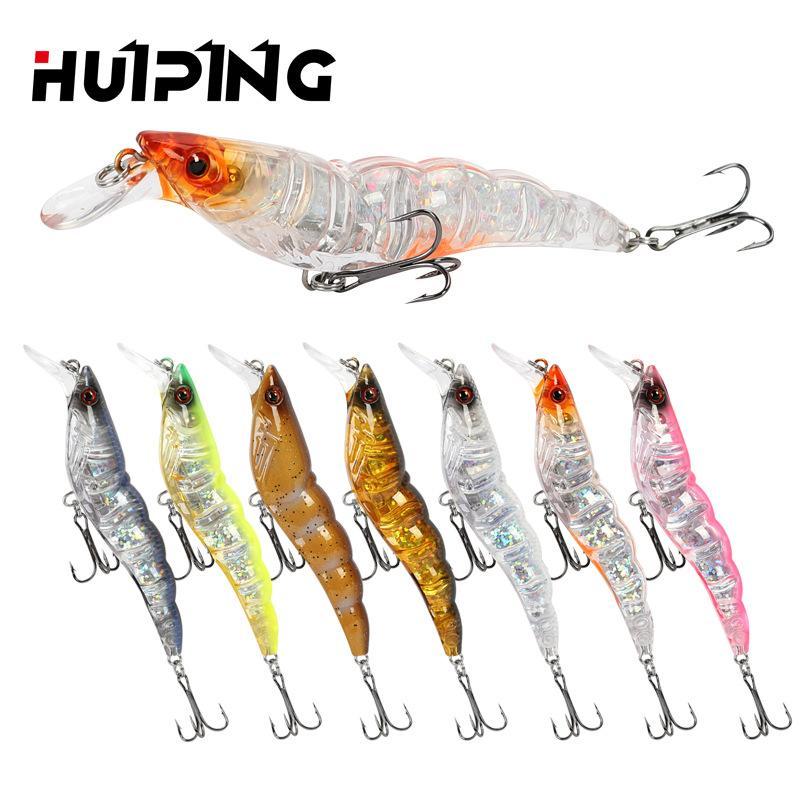 Fish Lure Shrimp-type Luyabait Split Ring Flat Body Longcasting 3D Eyes High Quality Sharpened Hook Free Shipping