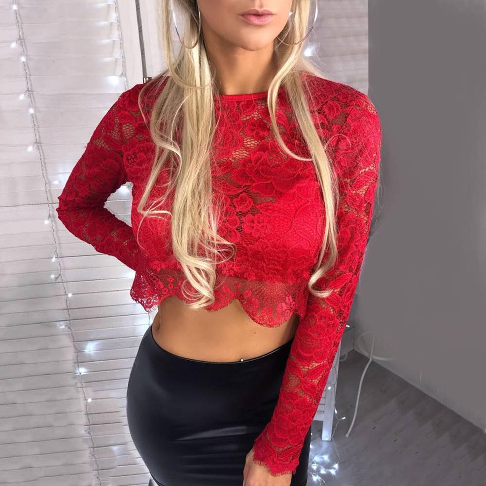 1pcs New Women Lace Crop Top Shirt Ladies Long Sleeve Sexy Clubwear Party Blouse Tee Fashion Trend High Quality