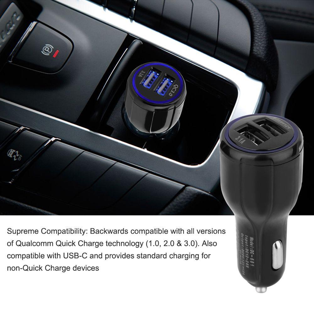 QC3.0 carregador de carro para o telefone móvel Dual USB Car Charger rápida carga 3.0 carregamento rápido carro adaptador de telefone USB Charger W95995
